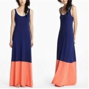 Bordeaux Colorblock Maxi Dress Navy/Orange M